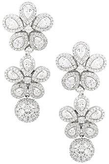 Rhodium Finish Flower Drop Earrings by BEJEWELED