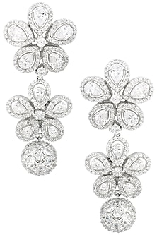 Rhodium Finish Flower Drop Earrings by BEJEWELED