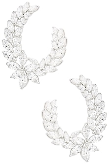 Rhodium Finish Marquise Earrings by BEJEWELED
