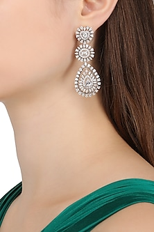 Rhodium Finish Heart, Emerald and Pear Shaped Earrings by BEJEWELED