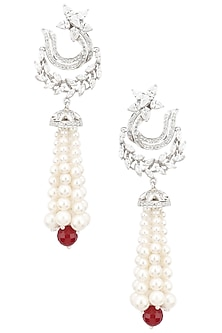 Rhodium Finish Zircons and Pearl Jhumki Earrings by BEJEWELED