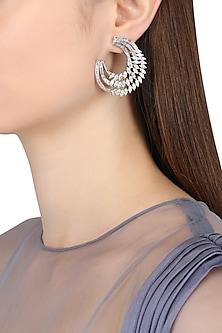Rhodium Finish Taper Half Chandbali Earrings by BEJEWELED
