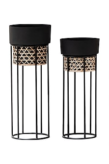 Black Textured Cane Planters- Set Of 2 by The Decor Remedy