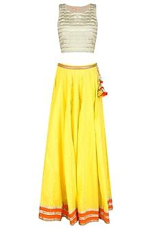 Yellow and  Gold Zari Embroidered Sequinned Lehenga Set