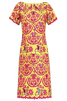 Yellow and  Pink Kutch Embroidered Shift Dress