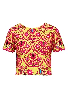 Yellow and  Pink Kutch Embroidered Top
