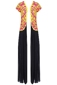 Black Kutch Embroidered Long Cape