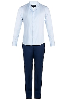 Blue night suit collared shirt by BLONI