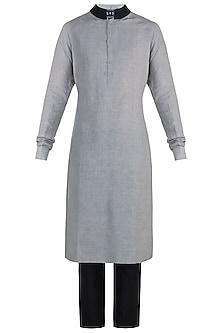 Grey and black kurta by BLONI