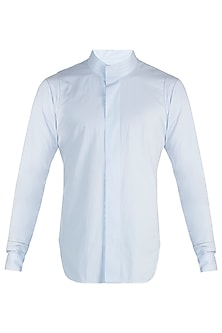 Blue bespoke handcrafted shirt by BLONI