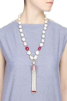 Baroque pearls and ruby semi-precious stones tulip string necklace<br />