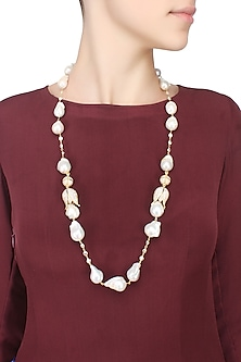 Baroque pearls and swarovski crystals two tulip string necklace