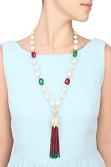 Baroque pearls and semi-precious stones tulip string necklace