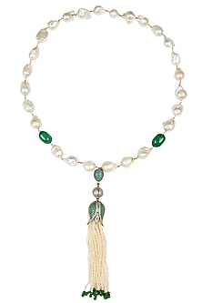 Baroque pearls and green semi-precious stones tulip string necklace by Blue Lotus By Ritu Kapur