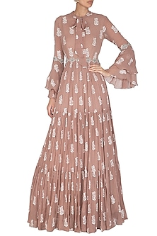 Beige Hand Embroidered & Printed Ruffled Anarkali Gown by Bhumika Sharma
