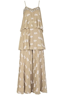 Light Beige Printed & Embroidered Layered Top With Pants by Bhumika Sharma