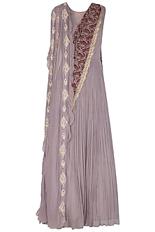 Lilac Anarkali Gown With Embroidered Front Pallu by Bhumika Sharma