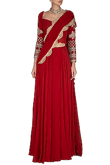Red Hand Embroidered Frill Pre-Stitched Saree Set by Bhumika Sharma