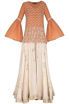 Orange & Ivory Embroidered Sharara Set by Bhumika Sharma