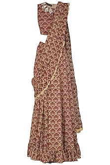 Maroon Embroidered & Printed Pre-Stitched Saree Set by Bhumika Sharma