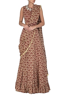 Maroon Embroidered & Printed Pre-Stitched Saree Set by Bhumika Sharma