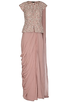Dusty Rose Embroidered Pre-Stitched Saree Set by Bhumika Sharma