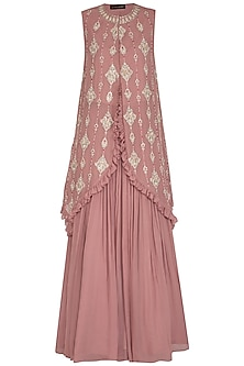 Onion Pink Embroidered Asymmetrical Cape With Skirt by Bhumika Sharma