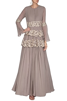 Grey Embroidered Double Peplum Anarkali Gown by Bhumika Sharma