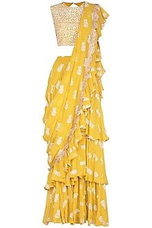 Yellow Printed Embellished Saree Set by Bhumika Sharma