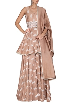 Beige Printed & Embroidered Sharara Set by Bhumika Sharma