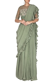 Sage Green Embroidered Saree Set by Bhumika Sharma
