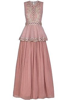 Dusty Rose Embroidered Peplum Anarkali Gown by Bhumika Sharma