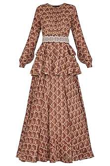 Maroon Printed Embroidered Peplum Anarkali With Belt by Bhumika Sharma