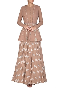 Beige Printed Anarkali With Embroidered Jacket & Belt by Bhumika Sharma