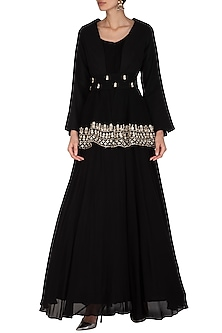 Black Embroidered Anarkali With Jacket & Belt by Bhumika Sharma