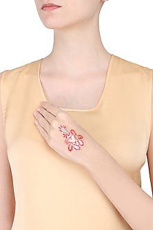 Pack Of 2 Designers Red And Gold Stone And Beads Sticker Body Tattoo