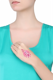 Pack Of 2 Designers Fuchsia And Gold Stone And Beads Sticker Body Tattoo