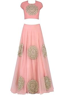 Pink Circular Motifs Embroidered Lehenga Set