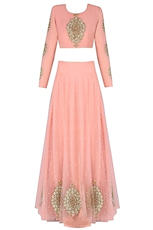 Pink Paisley Motifs Embroidered Lehenga Set by Bhumika Sharma