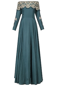 Teal Green off Shoulder Gown by Bhumika Sharma