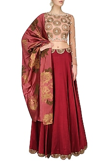 Earthy Pink and Maroon Embroidered Lehenga Set by Bhumika Sharma