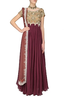 Nude and Maroon Anarkali With Dupatta by Bhumika Sharma