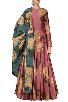 Wine Printed Anarkali With Dupatta by Bhumika Sharma