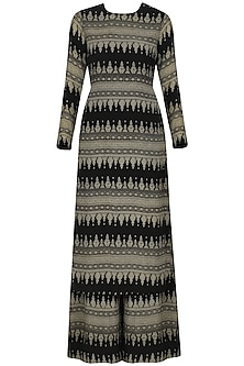 Black Geometric Print Kurta with Palazzo Pants