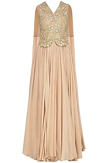 Nude Zari Embroidered Gown