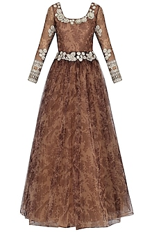 Nude and Wine Bird Printed Anarkali by Bhumika Sharma
