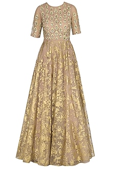 Bright Nude Golden Paan Leaf Embroidered Anarkali by Bhumika Sharma