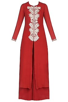 Red Sequin Embroidered Kurta Set