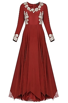 Maroon Sequin Embroidered Anarkali with Belt and Dupatta