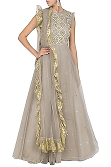 Grey Pearl Embroidered Anarkali with Dupatta by Bhumika Sharma